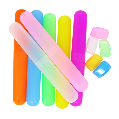 HONBAY Pack of 7 Plastic Dust-Proof Toothbrush Case Holder for Daily and Travel Use - 5 Toothbrush Head Covers as Gift