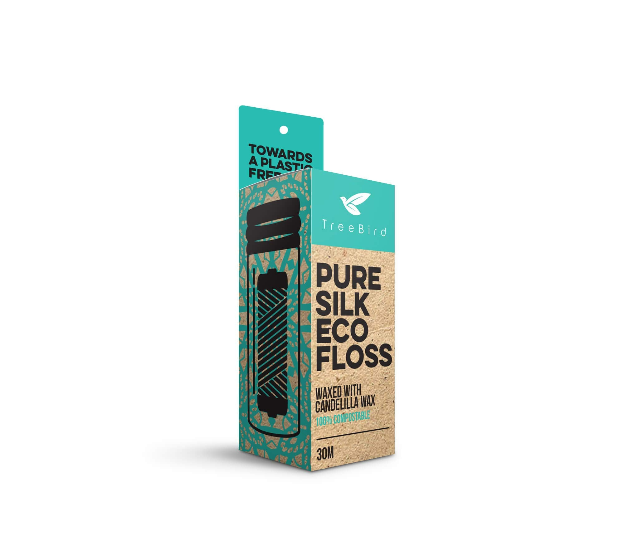 TreeBird Biodegradable Dental Floss With a Refillable Glass Holder