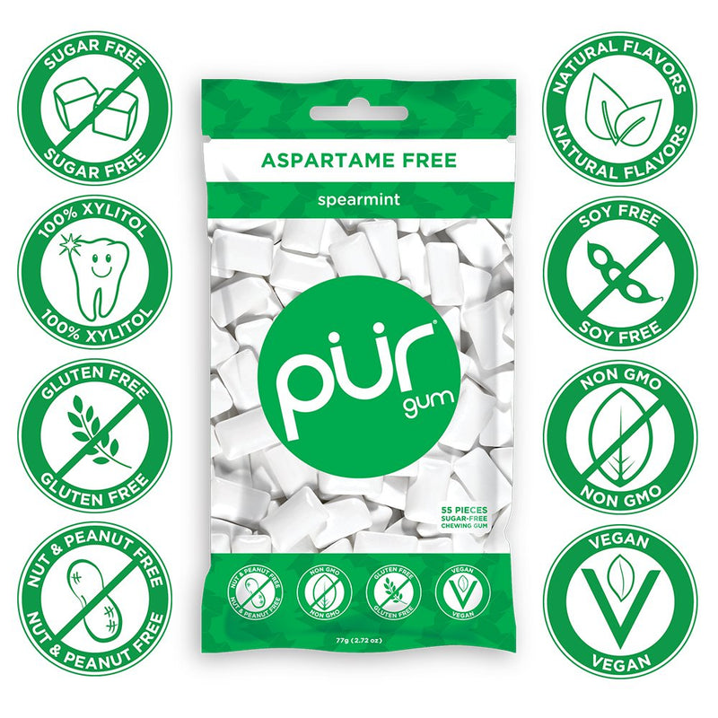 PUR Gum, Spearmint, 55 pieces - Aspartame Free, Sugar Free, 100% Xylitol, Natural Chewing Gum, Non GMO, Vegan