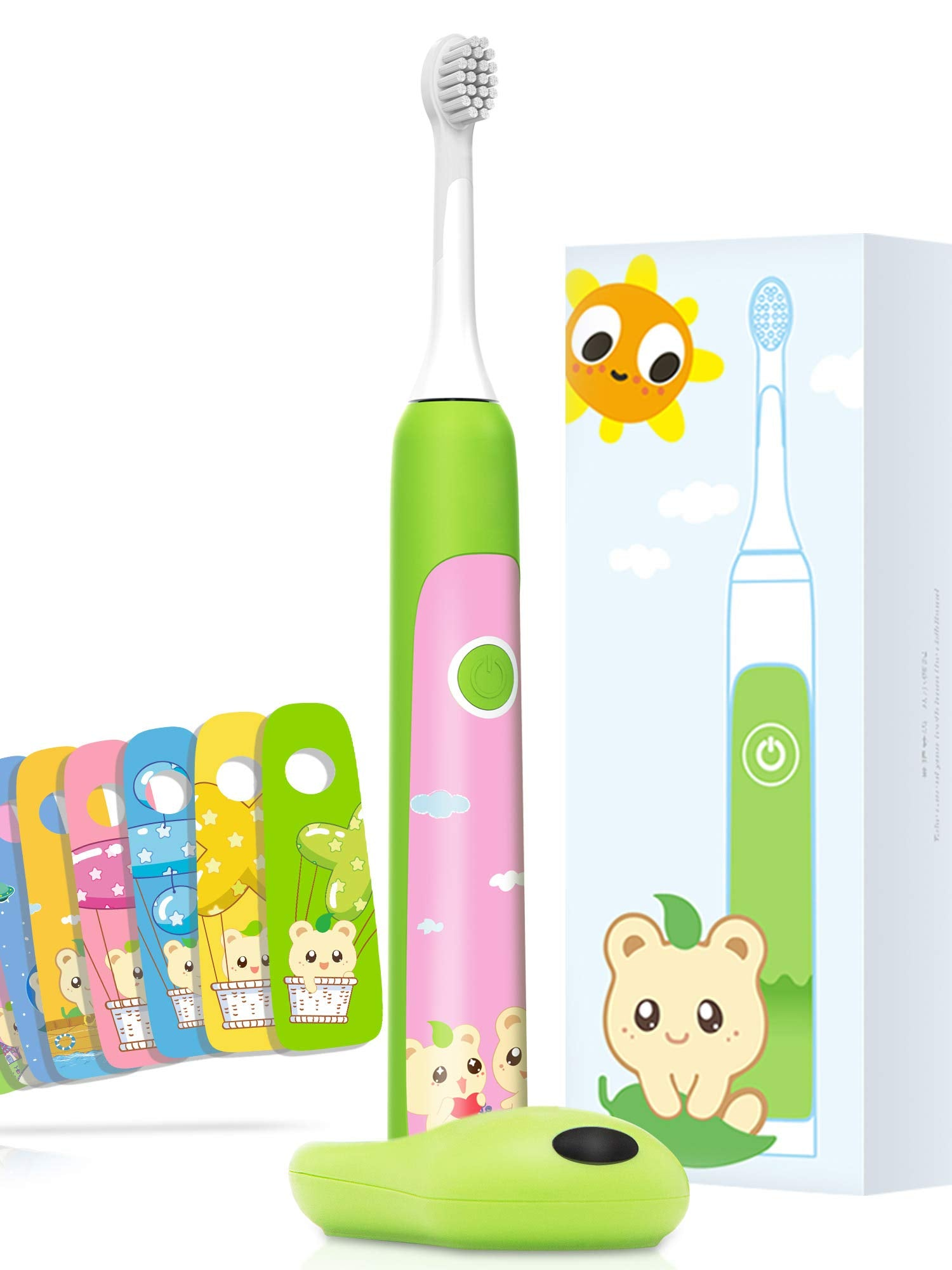 Aiwejay Kids SONIC Electric Toothbrush Reachable For ages 3-12,8 Cute Stickers, 3 Vibration Modes,Green