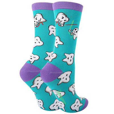 Women's Novelty Funny Teeth Dental Cotton Socks, Crazy Happy Tooth Patterned Dentist Crew Socks