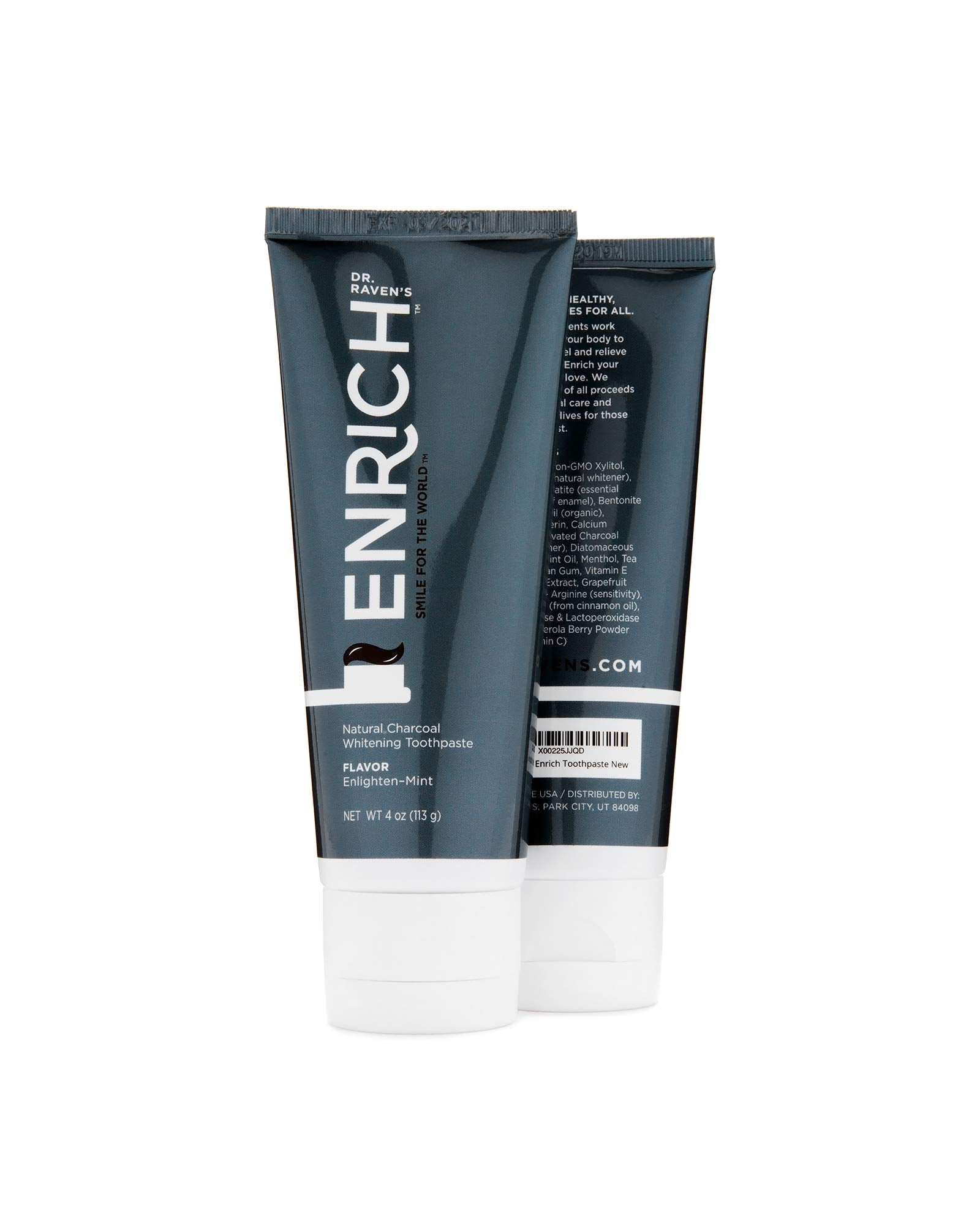 Enrich ORGANIC WHITENING COCONUT OIL Toothpaste - ACTIVATED CHARCOAL - EFFECTIVE for even SENSITIVE TEETH - KID SAFE - Fluoride Free with protective Enzymes - Made in USA