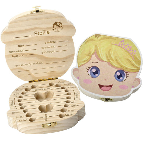 CozyCabin Baby Teeth Box,Child Milk Teeth Saver Wood Keepsake Organizer Deciduous Souvenir Box Baby Tooth Box (English, Princess)