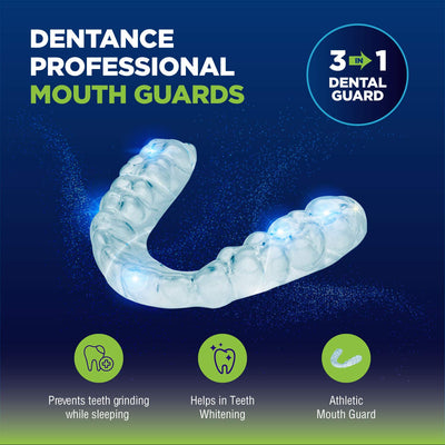 Dentance Professional Dental Guards - Set of 4 Made In USA - Custom Fit - BPA Free - Perfect Dental Guards for Teeth Grinding and Sport Athletes - Regular and Heavy Duty protection - Teeth Whitening