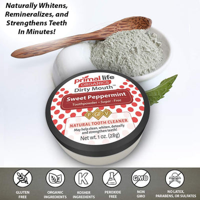 Primal Life Organics | Dirty Mouth Organic Tooth Powder | Gently Polishes, Whitens, Re-Mineralizes, Strengthens Teeth | 1 Ounce (3 Month Supply) | Sweet Peppermint