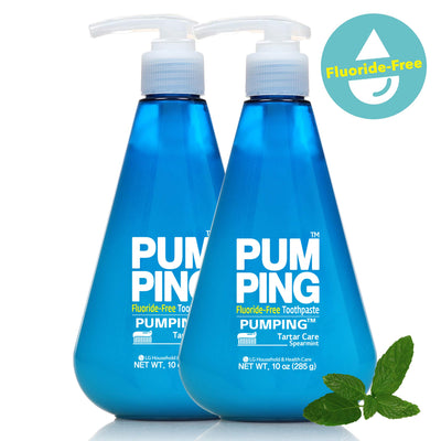 PERIOE Fluoride-Free Single Pump Toothpaste - Innovative Pump for Smart Brushing and Improved Tartar Care, Spearmint, Two Pack (285 g / 10 oz)