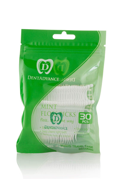 DentAdvance Mint Dental Floss Picks - Premium Angled, Easy Reach Back Teeth | Tooth Flossers | Mint Flavor, Waxed, 30 ct, w/ Travel Case