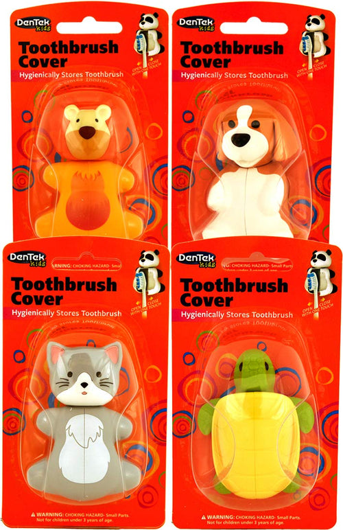 Dentek Animal Toothbrush Cover | Pack of 4 | Animals May Vary