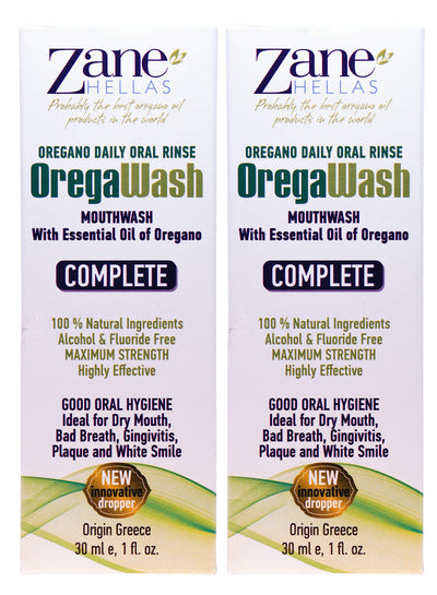 OREGAWASH Mouthwash. Oregano Daily Oral Rinse. 100% Natural. 2 Fl. Oz. - 60ml. Alcohol, Fluoride Free. Naturally Bacteria Fighting. Ideal for Gingivitis, Plaque, Dry Mouth, Bad Breath Support.