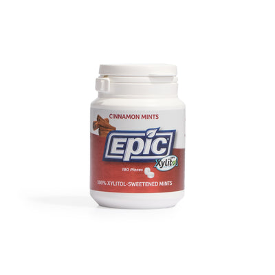 Epic Dental 100% Xylitol Sweetened Breath Mints, Cinnamon Flavor, 180 Count Bottles (Pack of 2)