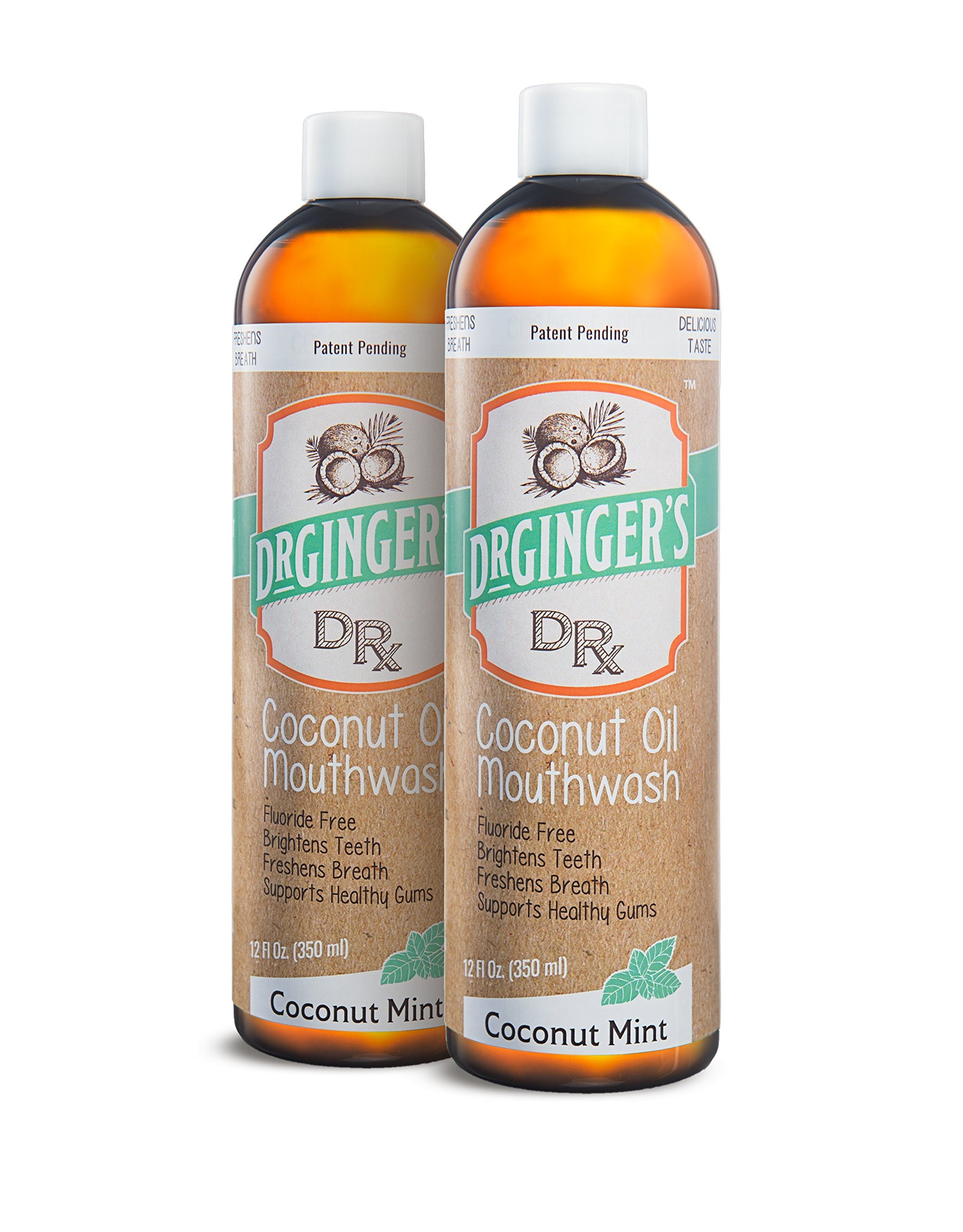 Dr Ginger's Coconut Oil Pulling & Whitening Mouthwash | Natural Ingredients | Freshens Breath & Promotes Good Oral Health | Delicious Coconut Mint Flavor | 12 oz | 2 Pack Bundle