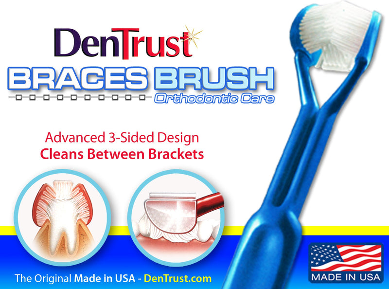 6pcs DenTrust 3-Sided Orthodontic Specialty Toothbrush for Braces - Made in USA