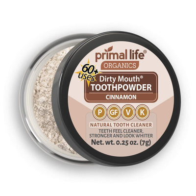 Primal Life Organics | Dirty Mouth Organic Tooth Powder | Gently Polishes, Whitens, Re-Mineralizes, Strengthens Teeth | 0.25 ounces (1 month supply) | Cinnamon