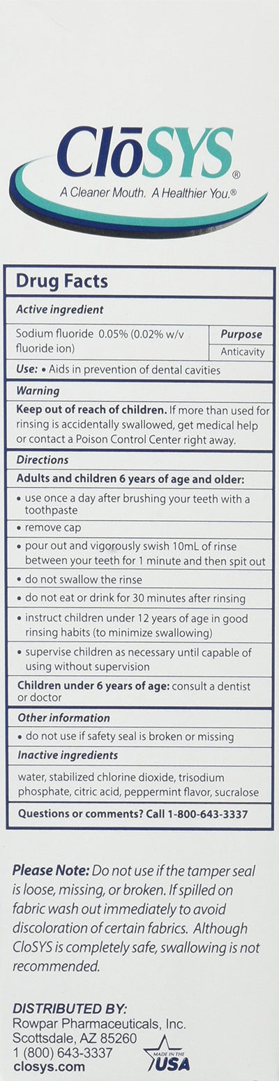 CloSYS Silver for Adults 55+ Fluoride Mouthwash, Gentle, Alcohol Free, 16 Ounce, (Pack of 2)