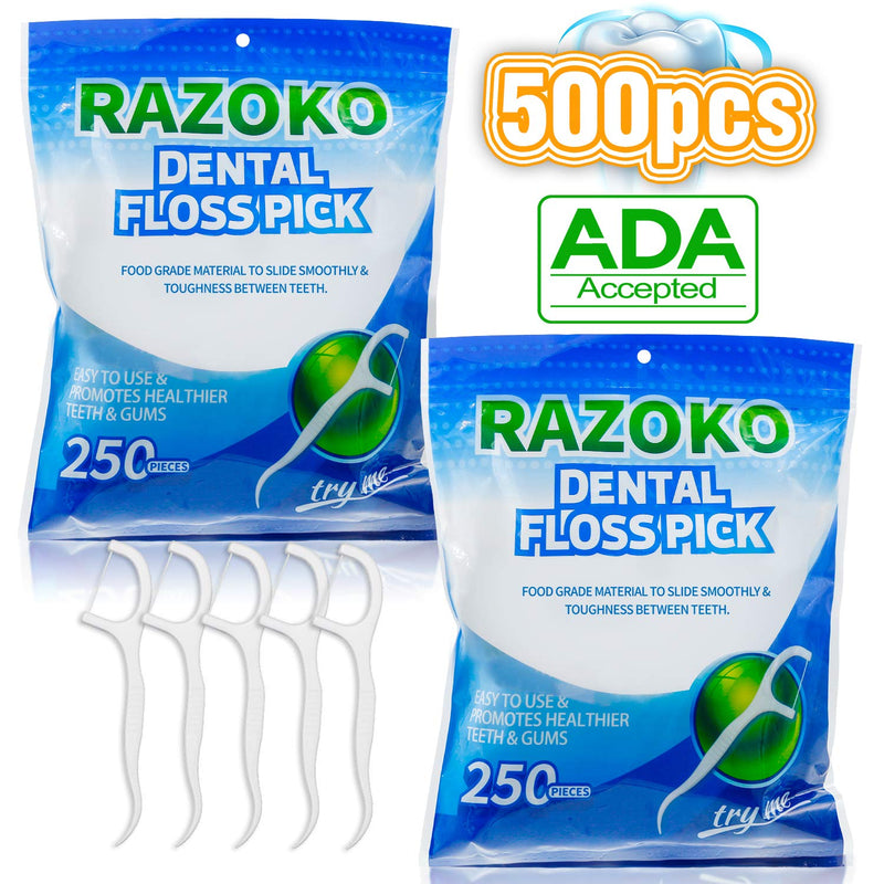 Dental Floss Picks High Pull Toothpicks Sticks,Clean Floss Picks,Unflavored Disposable Flossers Refill Pack 500 pcs