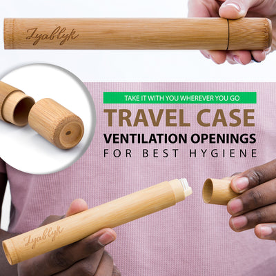 Zyablyk Bamboo Toothbrush Set With Travel Toothbrush Case