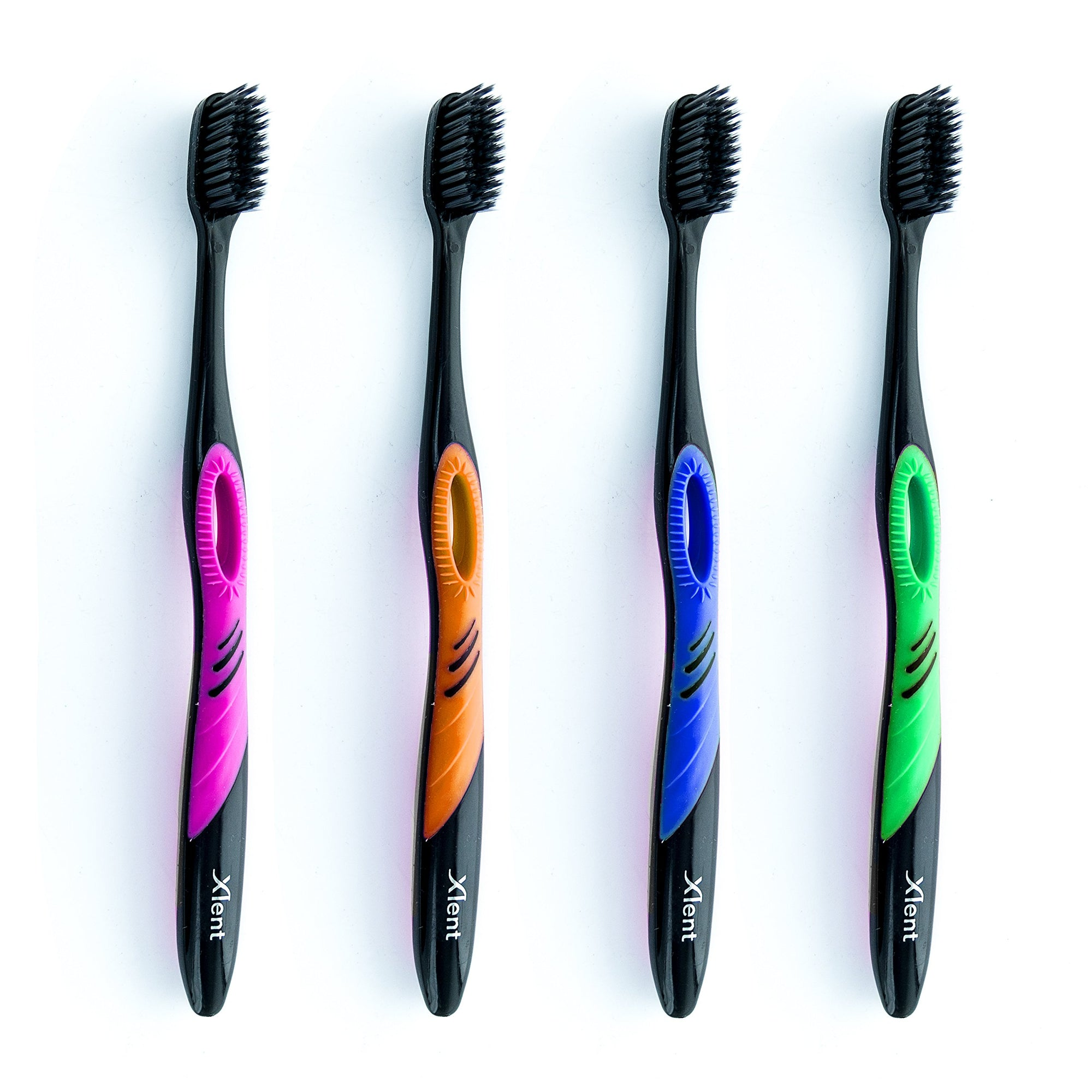 4 pcs Xlent Dental Activated Charcoal Bristle Toothbrush - Xtreme Soft