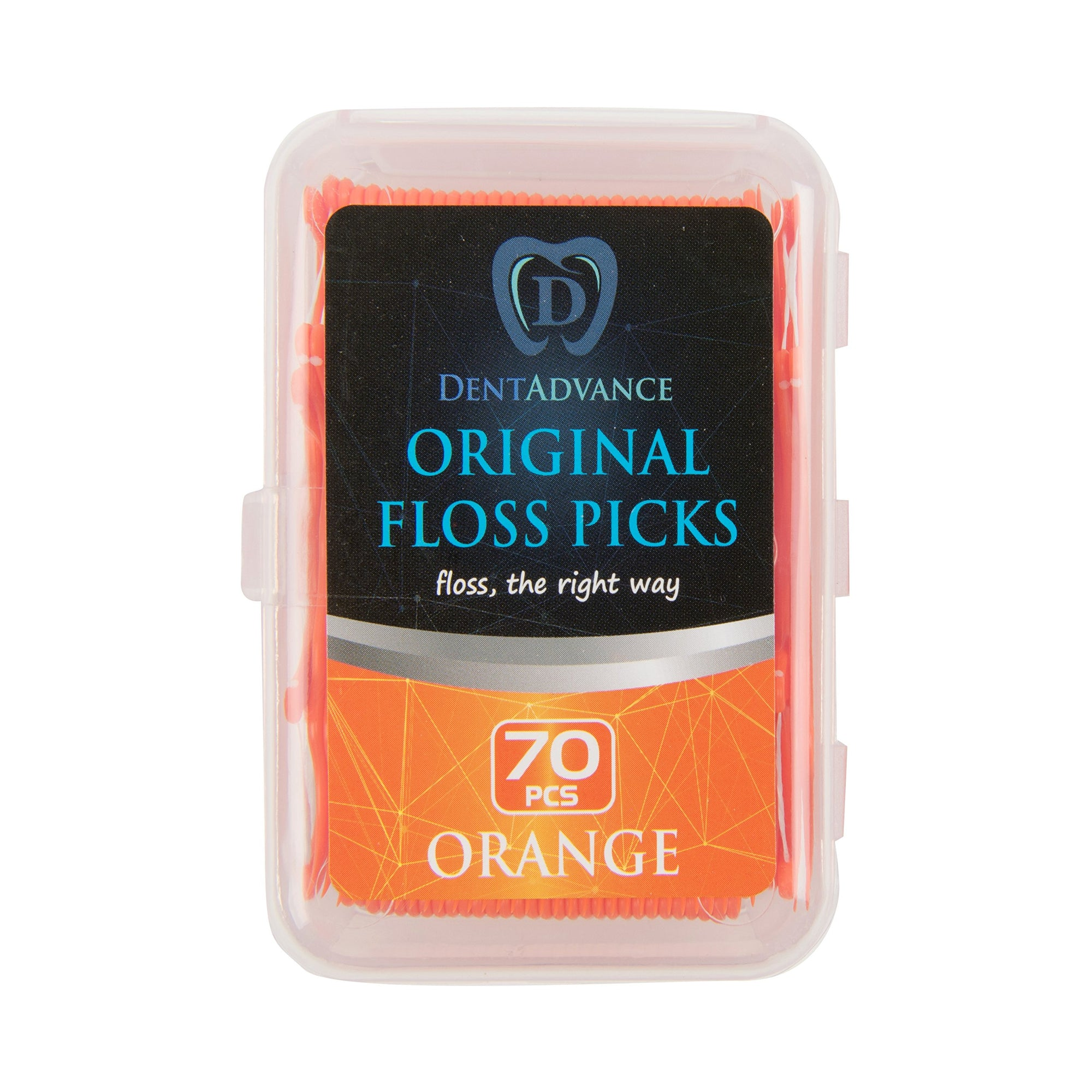DentAdvance Original Dental Floss Picks - Easy Reach Back Teeth | Tooth Flossers | Orange, Unflavored, 70 ct, w/ Travel Case