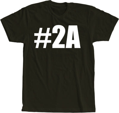#2A Hashtag Second Amendment Black with White Print Short Sleeve Shirt