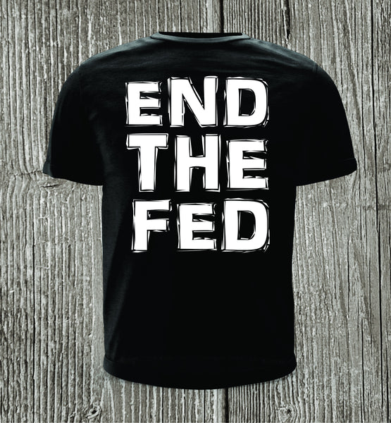 END THE FED Black with White Print Short Sleeve Shirt