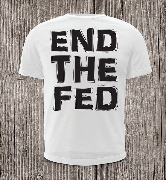 END THE FED White with Black Print Short Sleeve Shirt