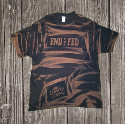 END THE FED Bleach Die Black with White Print Short Sleeve Shirt