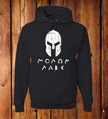 Molon Labe with Spartan Helmet Black Hoodie
