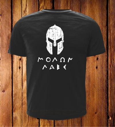 Molon Labe with Spartan Helmet Black with White Print Short Sleeve Shirt