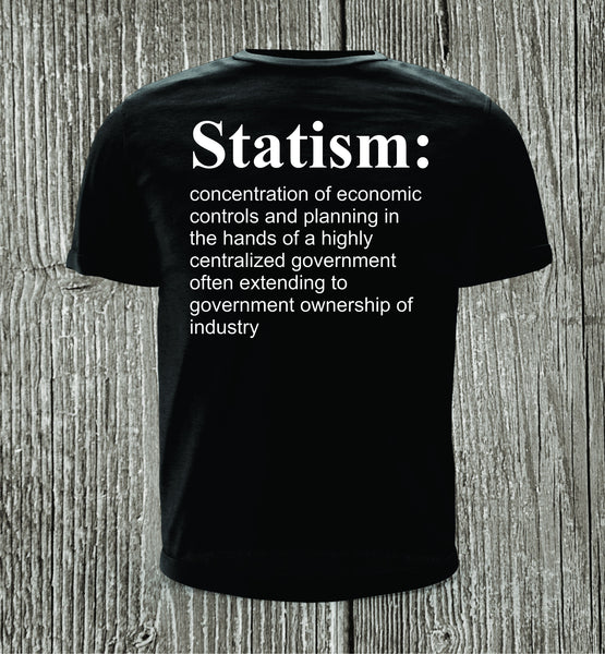Statism Black with White Print Short Sleeve Shirt