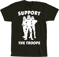 Support The Troops Black with White Print Short Sleeve Shirt