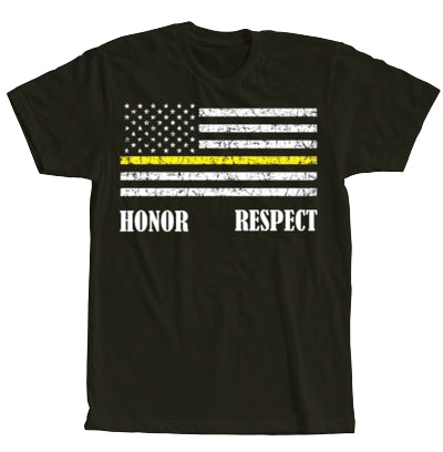 Thin Yellow Line Short Sleeve Black T-shirt