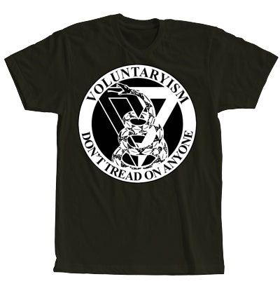 Voluntarism Black with White Print Short Sleeve Shirt (Adam Kokesh design)