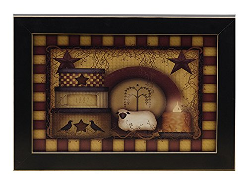 Primitive Starberry Sheep Crow Framed Print
