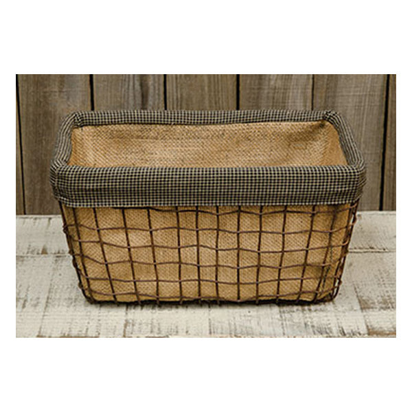"Burlap, Homespun Fabric, & Wire 11"" Rectangle Basket"
