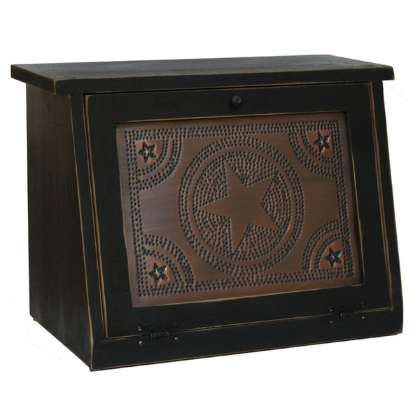 Regular Star Punched Tin Panel Wood Bread Box