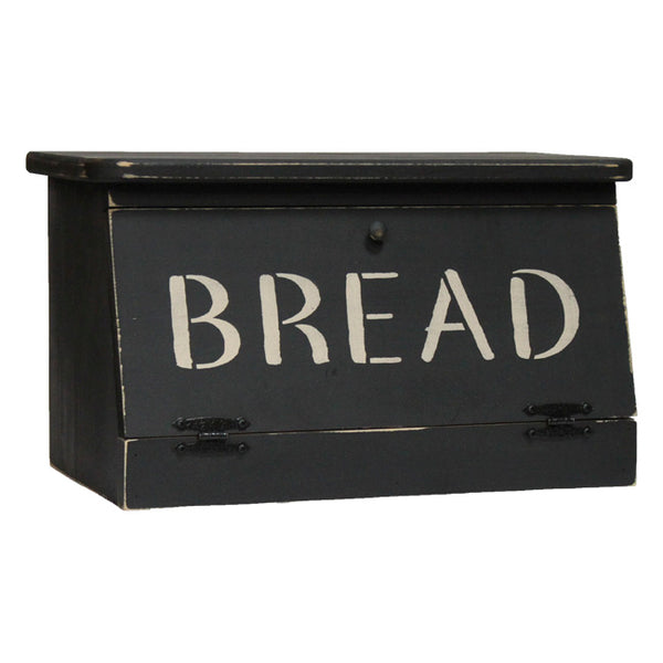 Country Rustic Stenciled Wood Bread Box