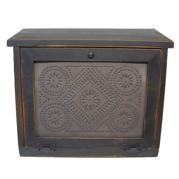 Diamond Punched Tin Panel Wood Bread Box