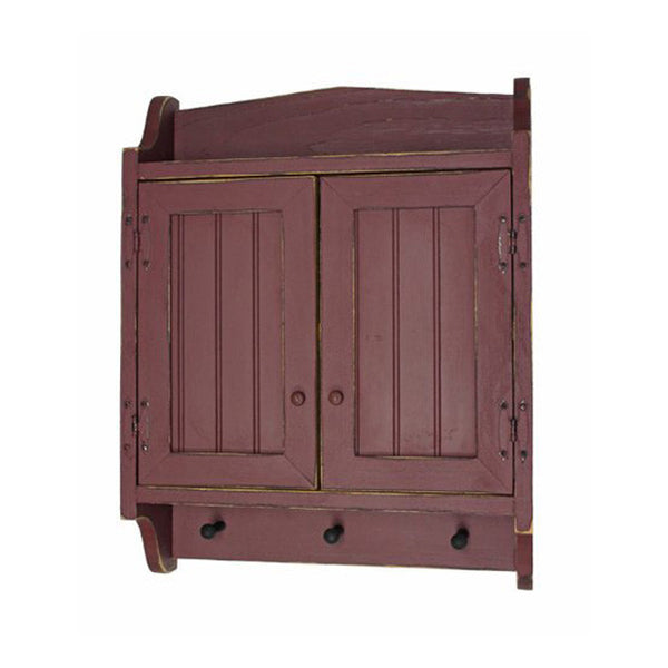 Distressed Beadboard Cabinet With 3 Pegs