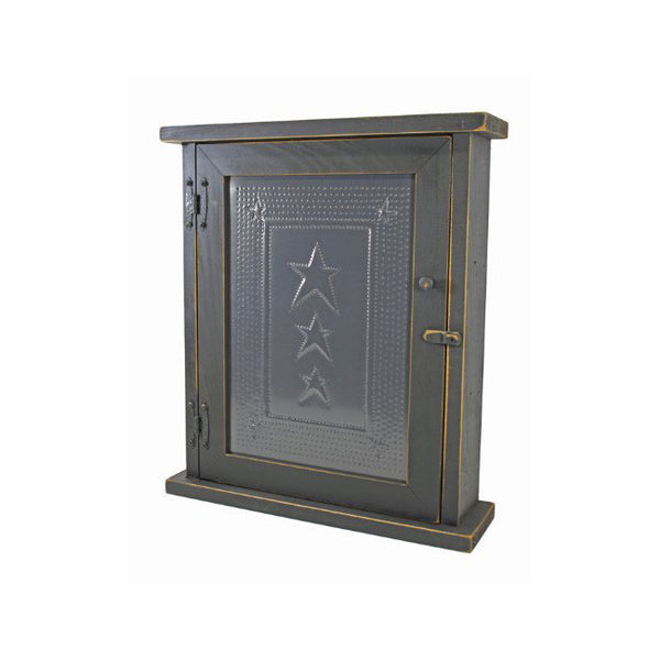 Three Star Punched Tin Spice or Medicine Cabinet with Distressed Black Finish