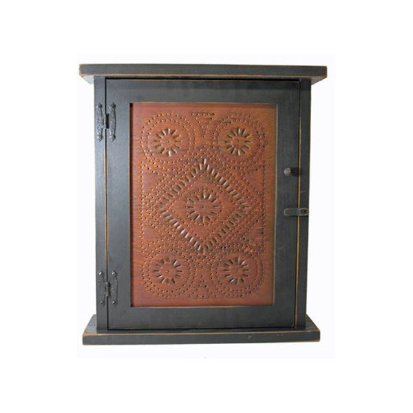Diamond Punched Tin Spice or Medicine Cabinet with Distressed Black Finish