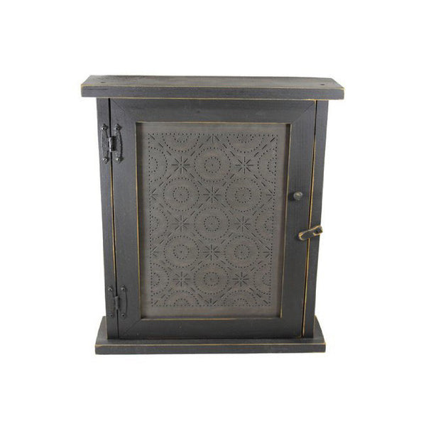Old Mill Punched Tin Spice or Medicine Cabinet with Distressed Black Finish