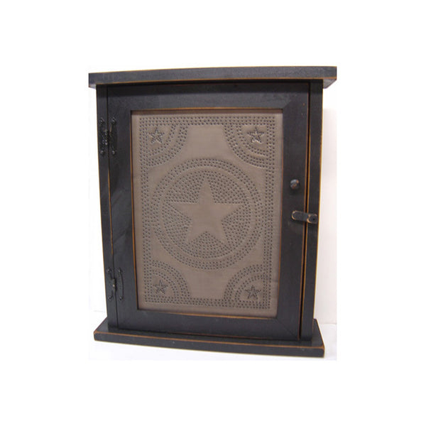 Star Punched Tin Spice or Medicine Cabinet with Distressed Black Finish