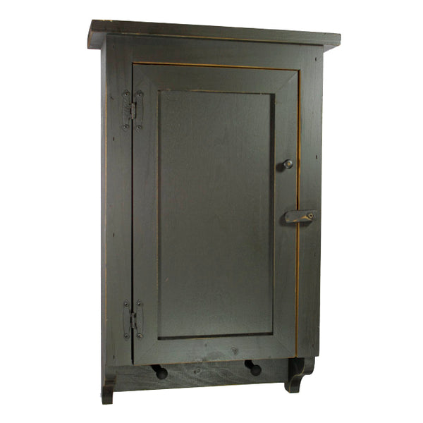 Primitive Distressed Flat Panel 2 Pegs Cabinet