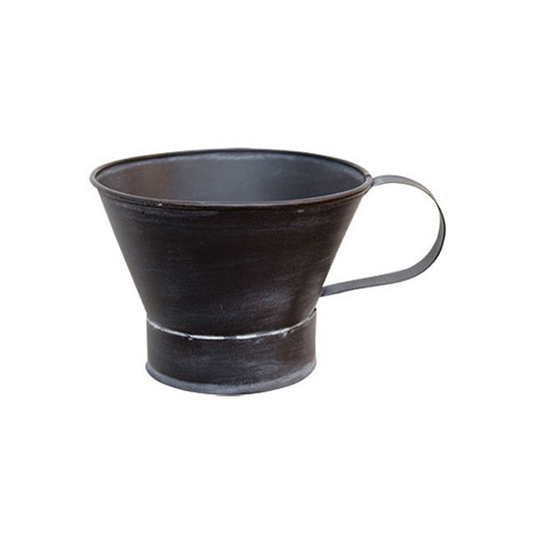 Distressed Black Tin Candle Bowl with Handle