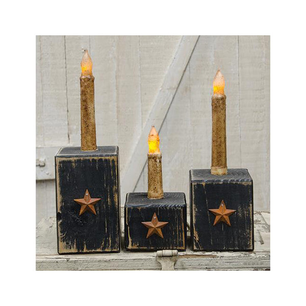 Country Rustic Tapered Candle Holder with Rusty Star 3pc Set
