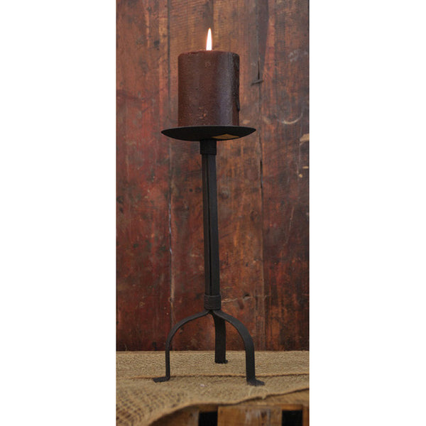 "Distressed Black Metal 12"" Pillar Candle Holder"
