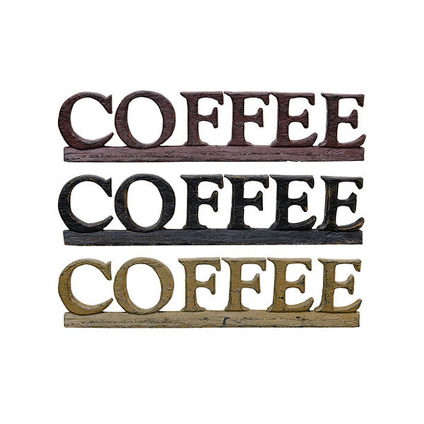 COFFEE Wood-Carved Appearance Resin Letter Sign Shelf Sitter