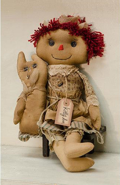 Primitive Kitty Ann Doll Embroidered Stuffed Cat