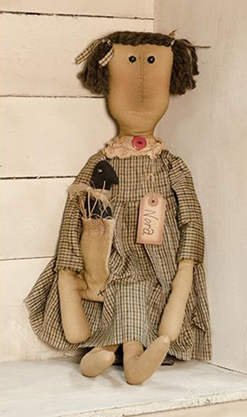 Primitive Nora with Crow in Burlap Bag Doll