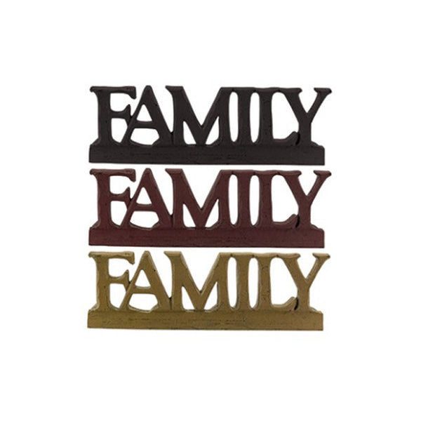 FAMILY (caps) Wood-Carved Appearance Resin Letter Sign Shelf Sitter
